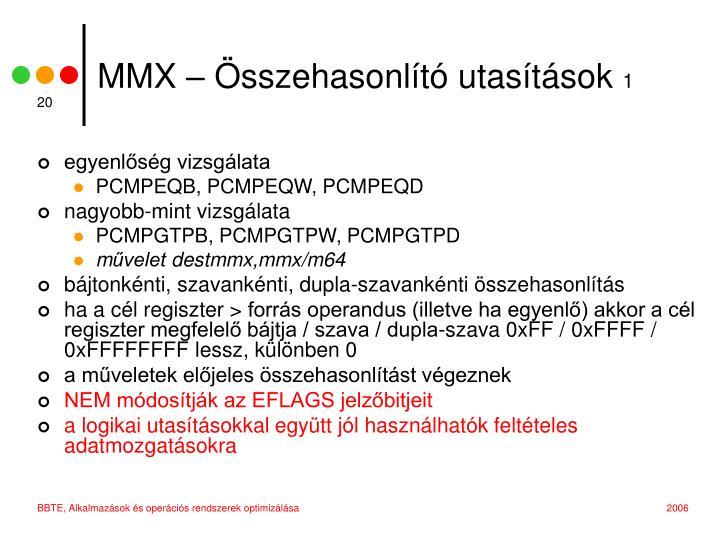 MMX – Összehasonlító utasítások