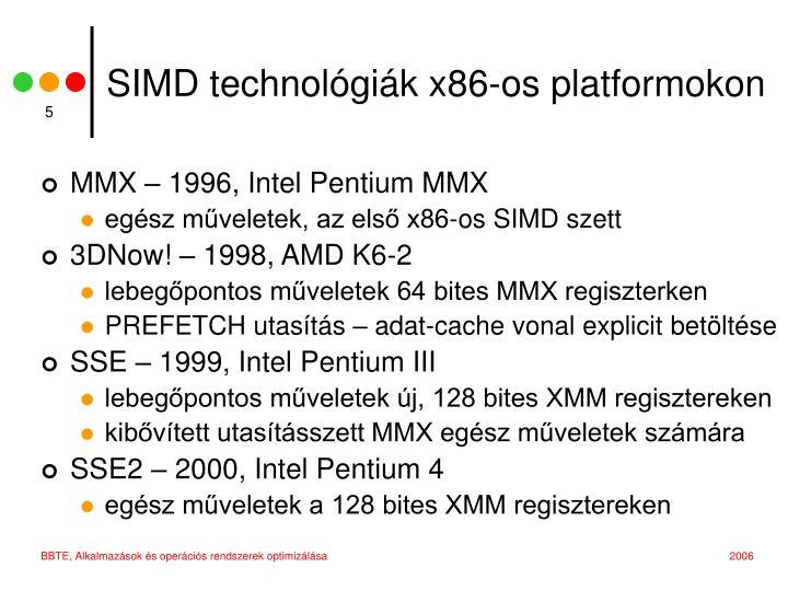 SIMD technológiák x86-os platformokon