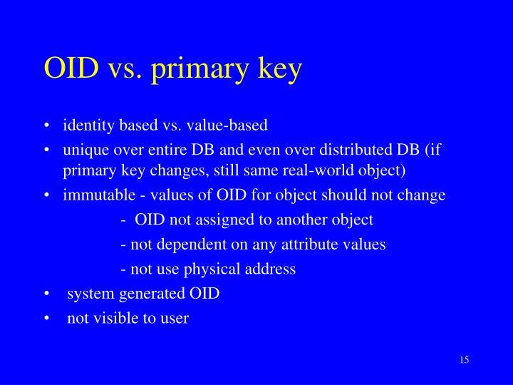 OID vs. primary key