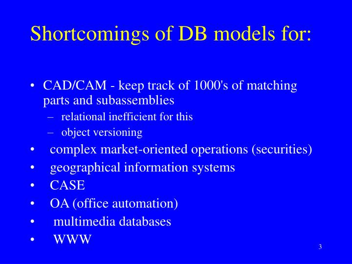 Shortcomings of DB models for: