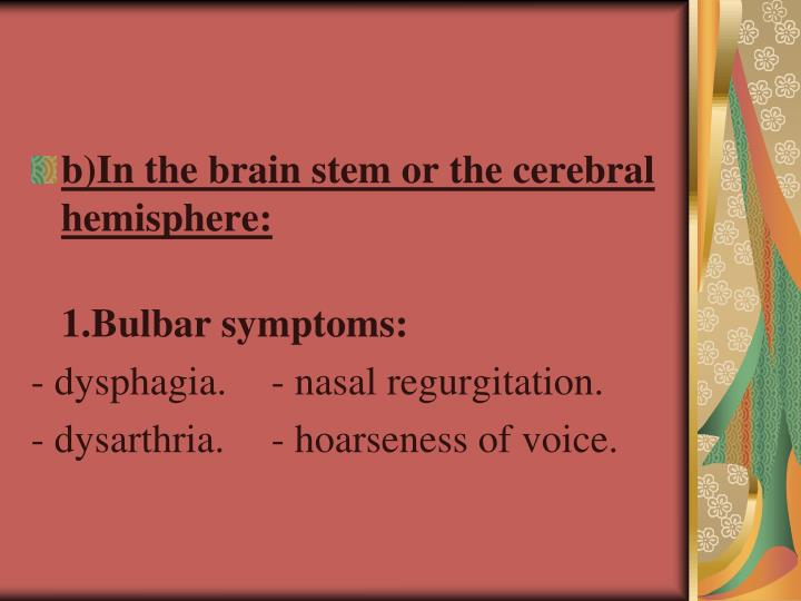 b)In the brain stem or the cerebral hemisphere: