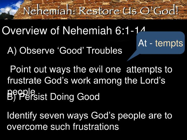 Overview of Nehemiah 6:1-14