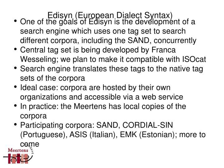 Edisyn (European Dialect Syntax)