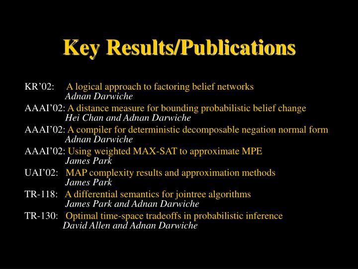 Key Results/Publications