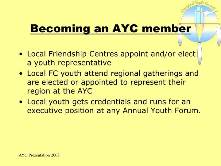 Becoming an AYC member