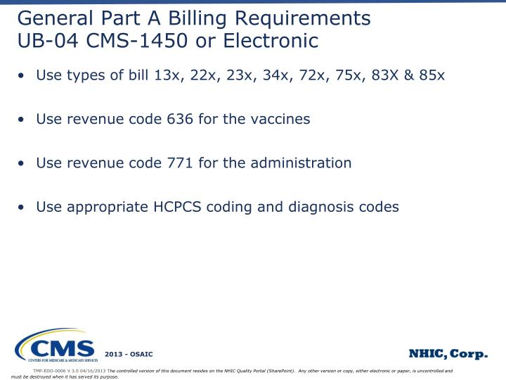 General Part A Billing Requirements