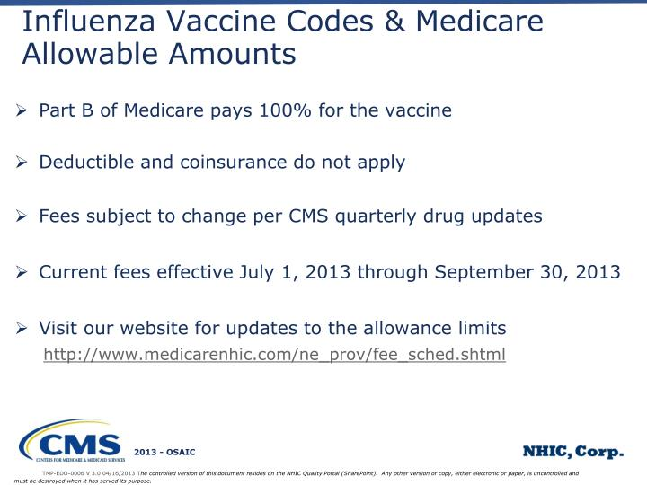 Influenza Vaccine Codes & Medicare Allowable Amounts