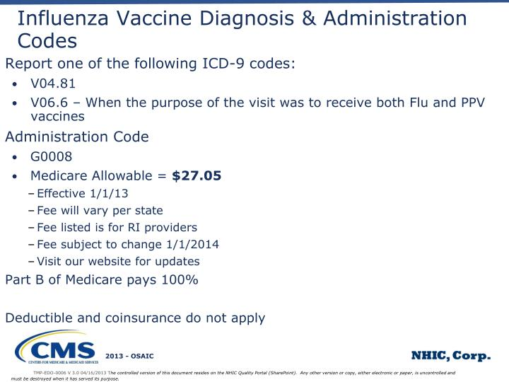 Influenza Vaccine Diagnosis & Administration Codes