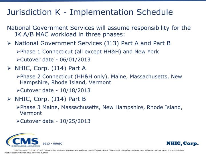 Jurisdiction K - Implementation Schedule