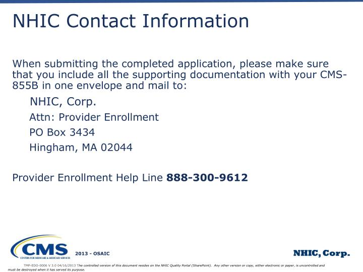 NHIC Contact Information