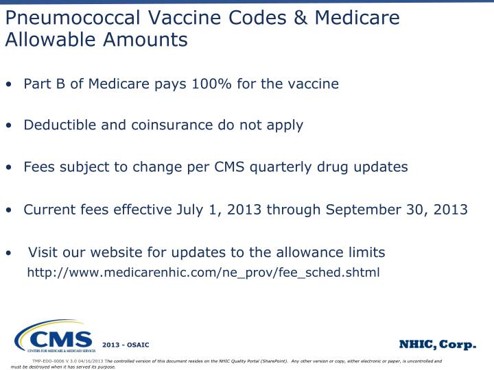 Pneumococcal Vaccine Codes & Medicare Allowable Amounts