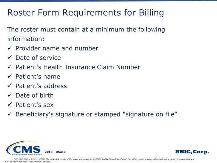 Roster Form Requirements for Billing