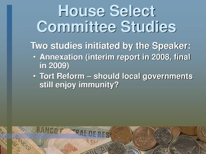 House Select Committee Studies