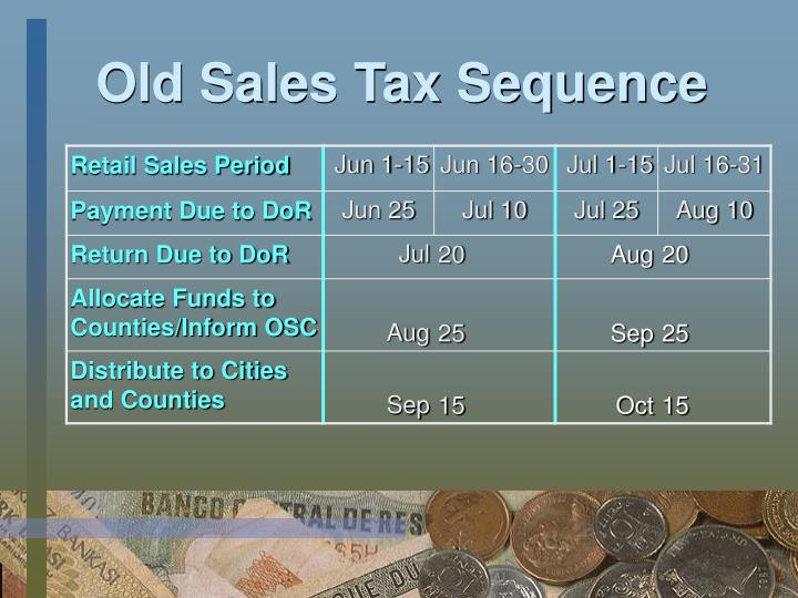 Old Sales Tax Sequence