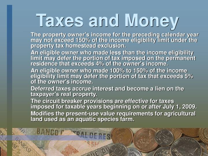 Taxes and Money