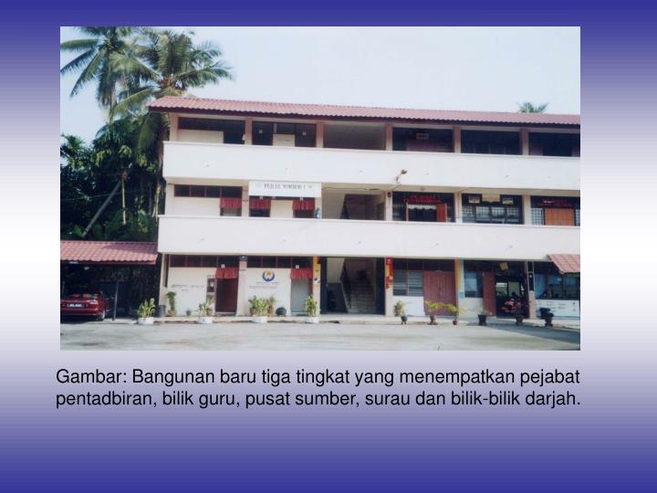 Gambar: Bangunan baru tiga tingkat yang menempatkan pejabat pentadbiran, bilik guru, pusat sumber, surau dan bilik-bilik darjah.