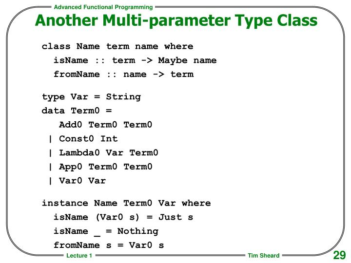 Another Multi-parameter Type Class