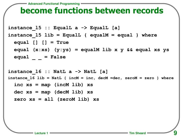 become functions between records