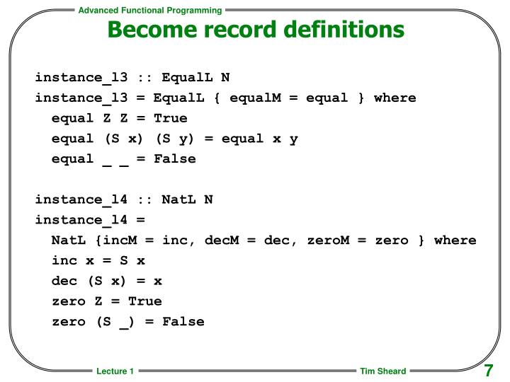 Become record definitions
