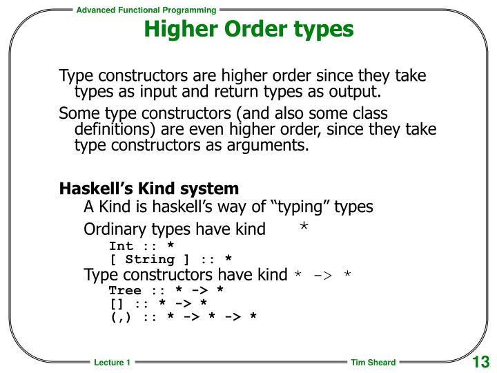 Higher Order types