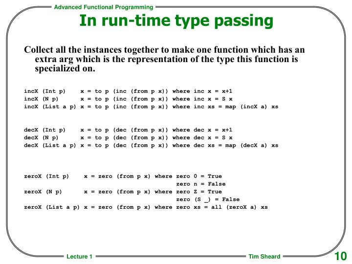 In run-time type passing
