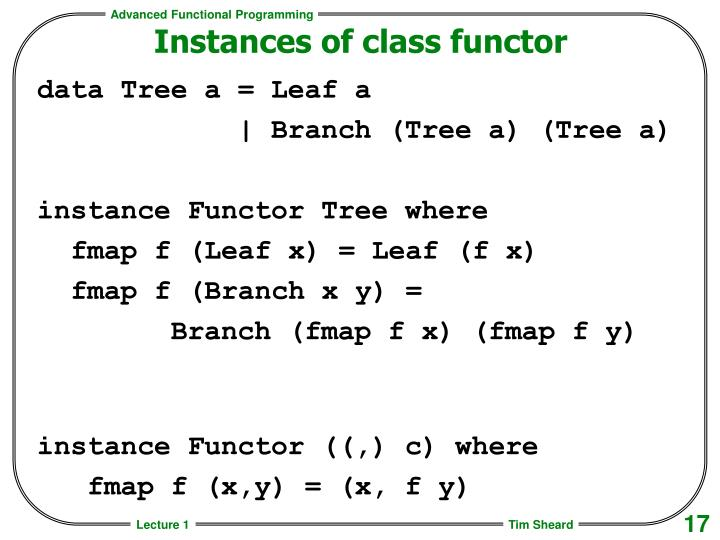 Instances of class functor
