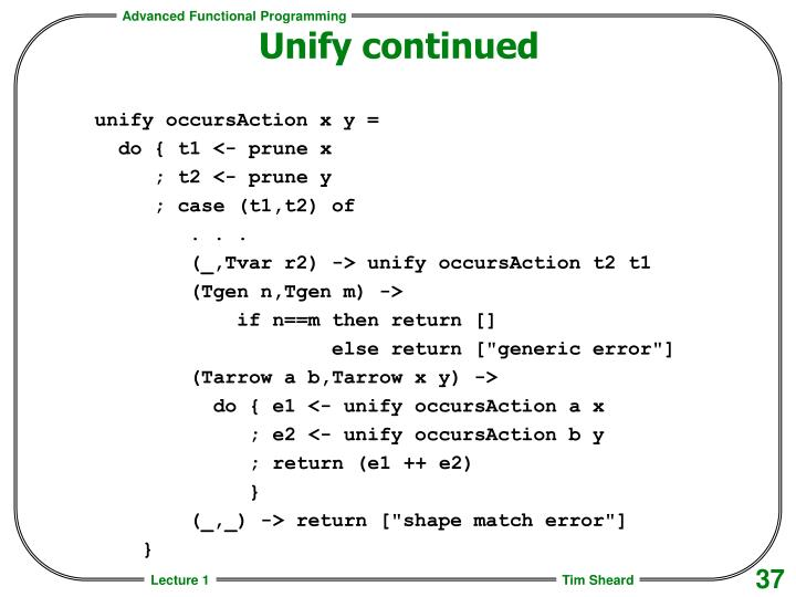 Unify continued