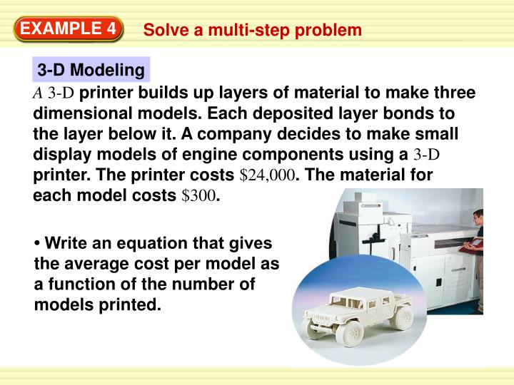 • Write an equation that gives the average cost per model as a function of the number of models printed.