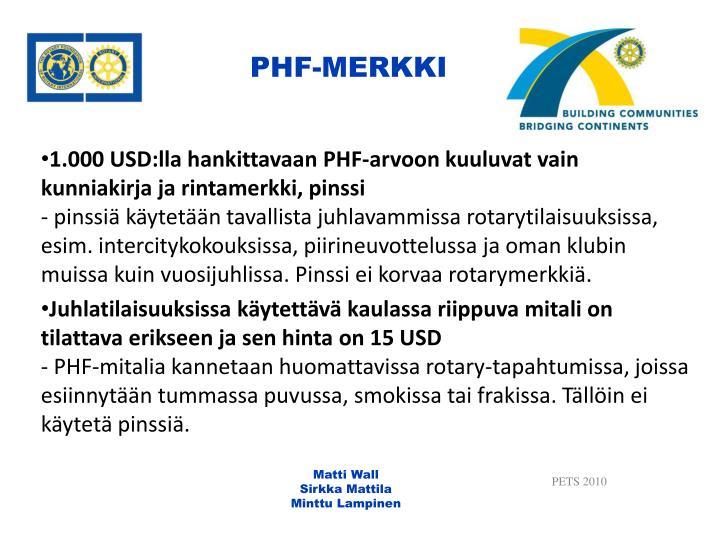 PHF-MERKKI