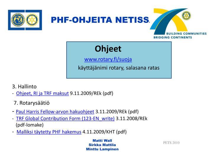 PHF-OHJEITA NETISSÄ