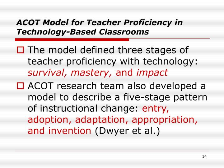 ACOT Model for Teacher Proficiency in Technology-Based Classrooms