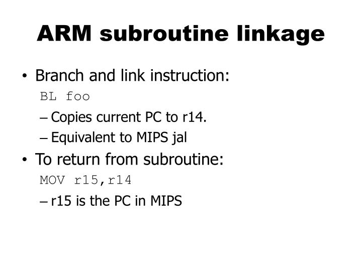 ARM subroutine linkage
