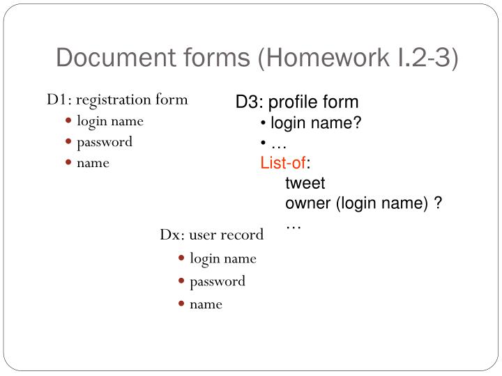 Document forms (Homework I.2-3)