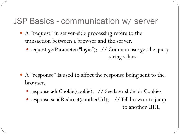 JSP Basics - communication w/ server