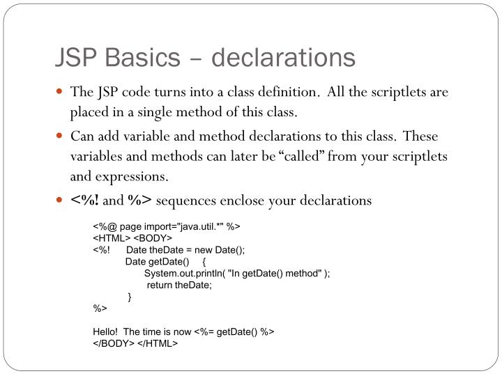 JSP Basics – declarations