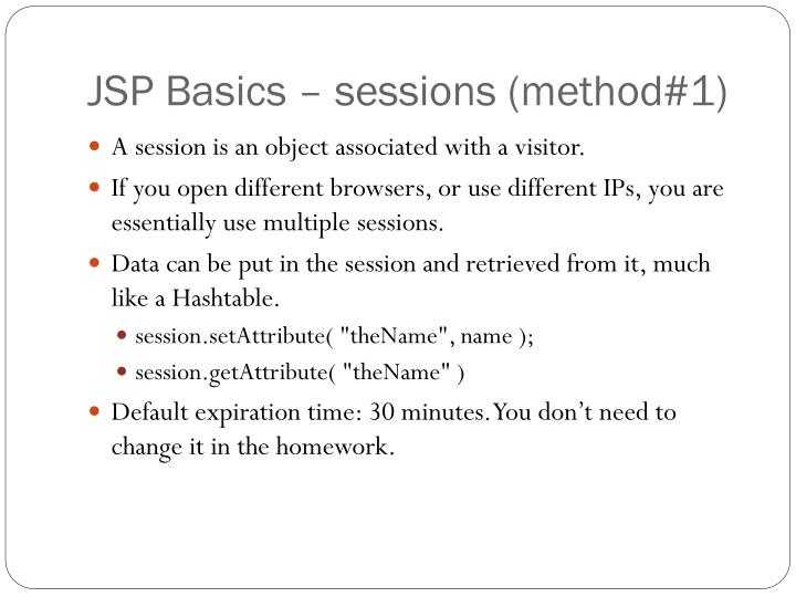 JSP Basics – sessions (method#1)