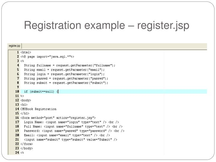 Registration example – register.jsp