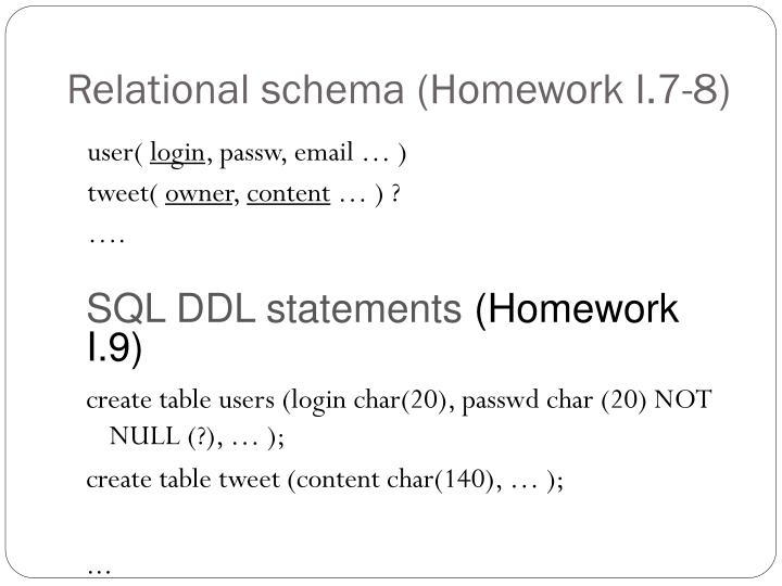 Relational schema (Homework I.7-8)