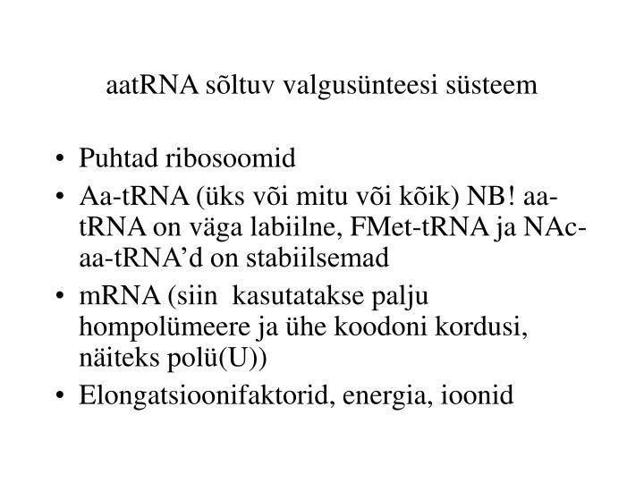 aatRNA sõltuv valgusünteesi süsteem