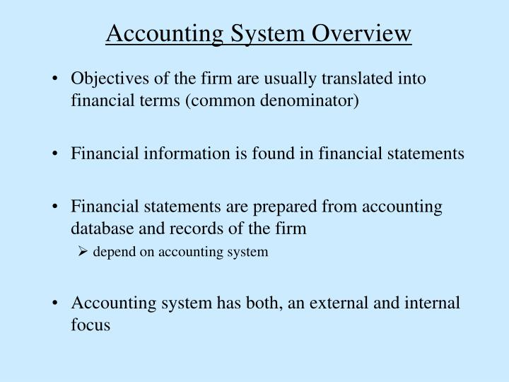 Accounting System Overview