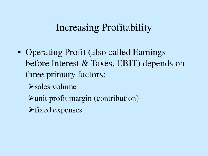 Increasing Profitability