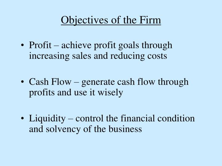 Objectives of the Firm