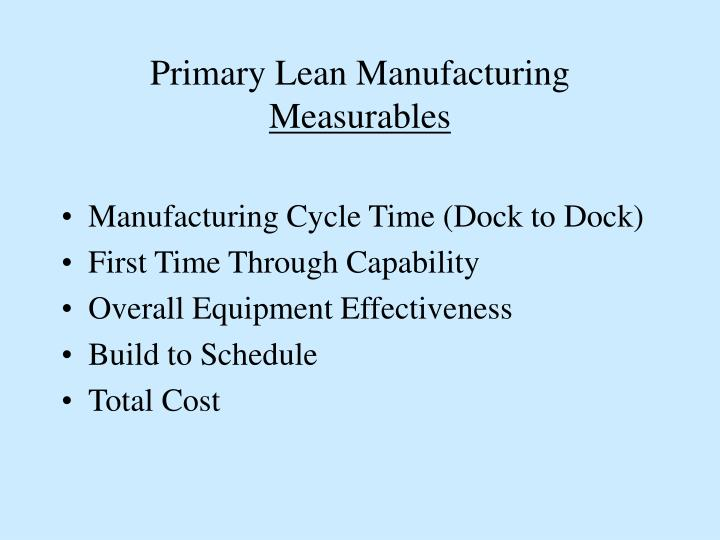 Primary Lean Manufacturing