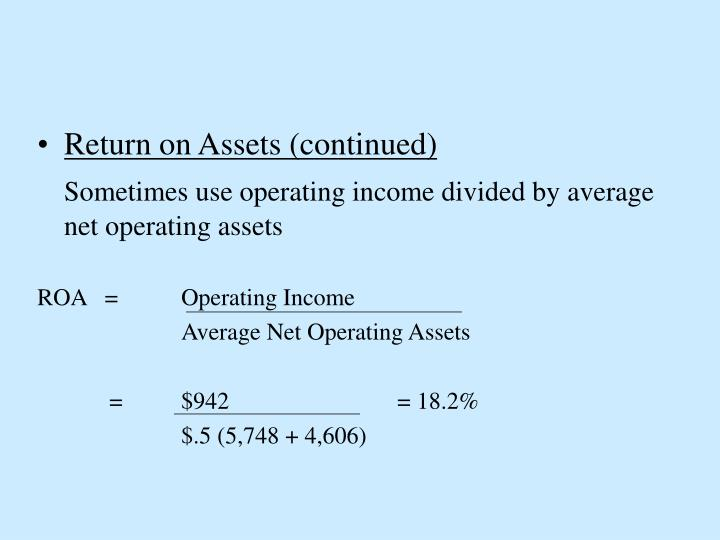 Return on Assets (continued)