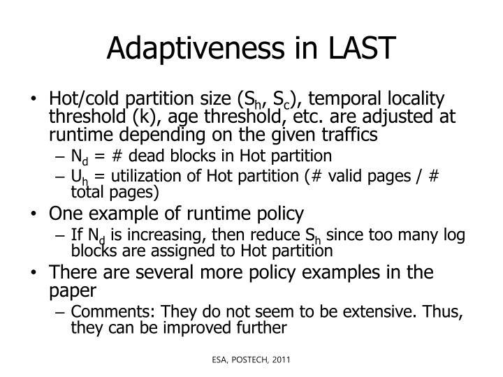 Adaptiveness in LAST