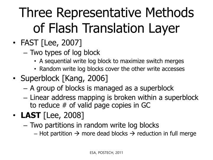 Three Representative Methods of Flash Translation Layer