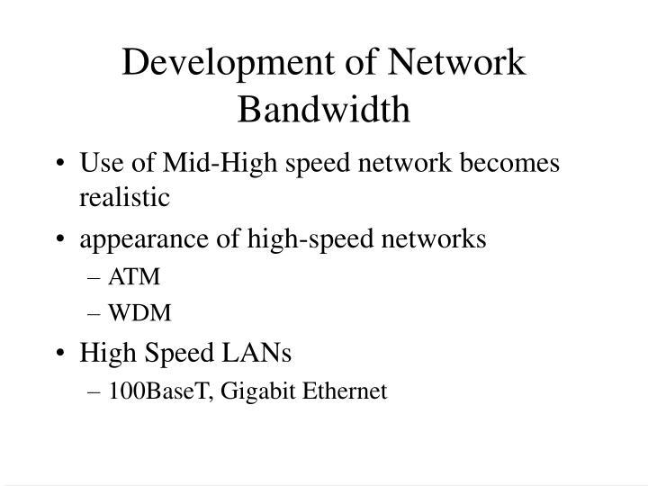 Development of Network Bandwidth