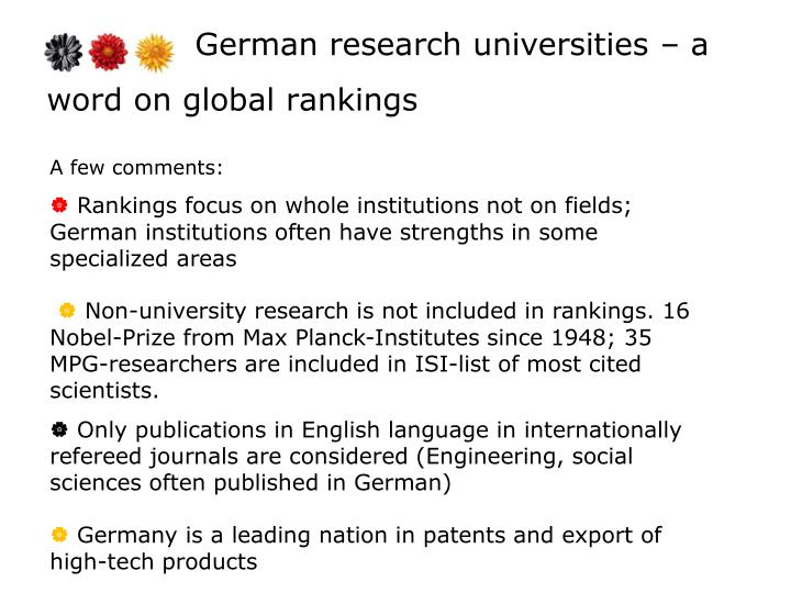 German research universities – a word on global rankings