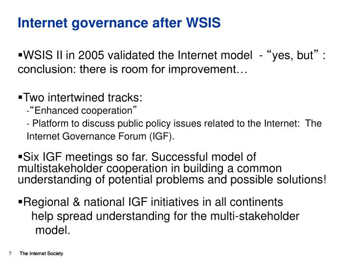 Internet governance after WSIS