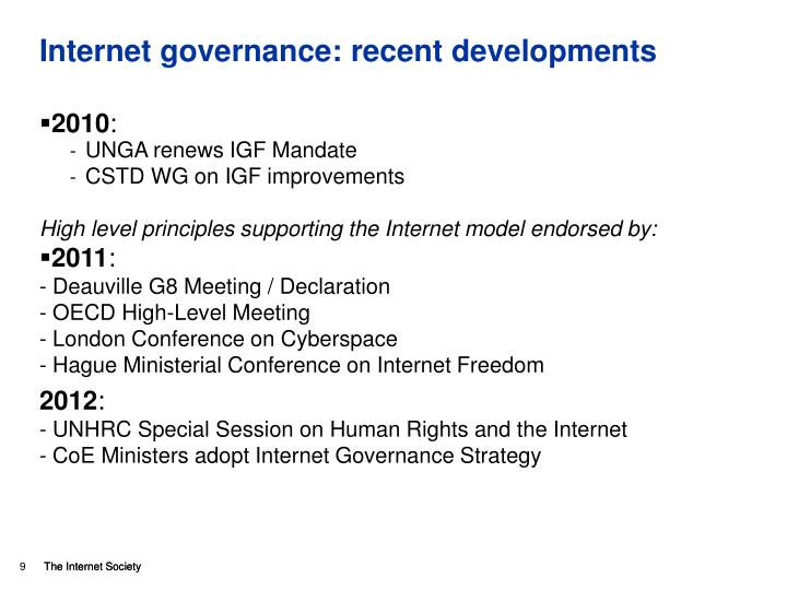 Internet governance: recent developments